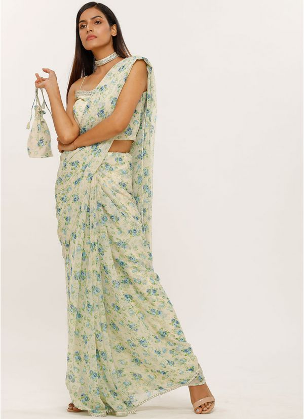 Ivory Floral Printed Chiffon Saree