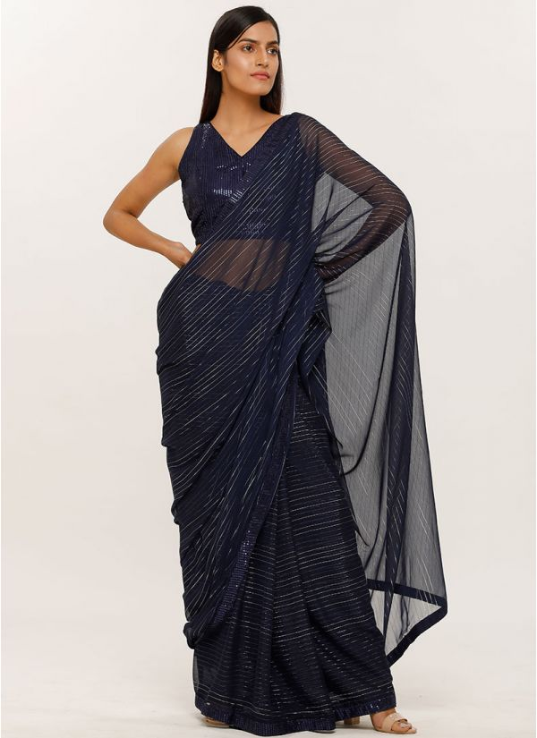 Blue Sequins Blouse Georgette Lurex Saree