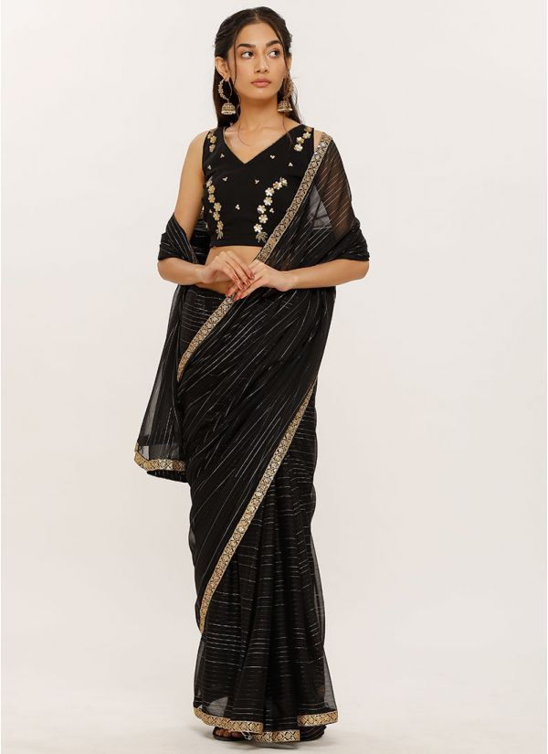 Embroidered Blouse Lurex Saree