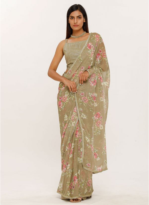 Moss Green Sequins Blouse Printed Saree