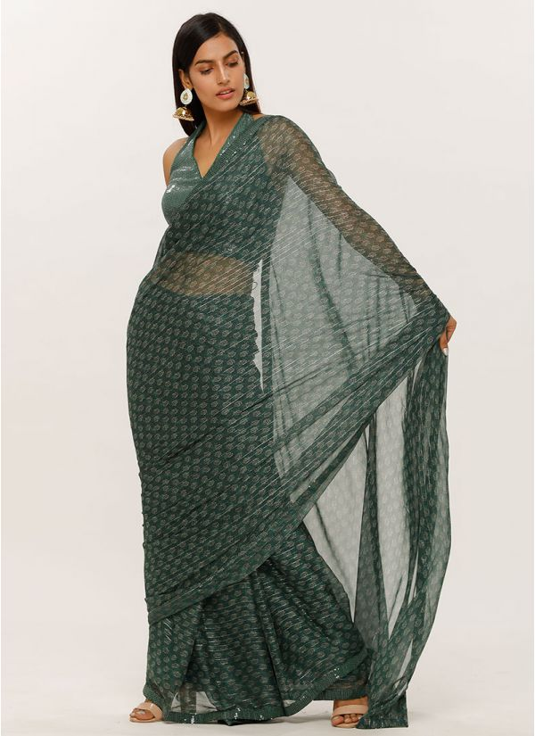 Green Printed Chiffon Lurex Saree