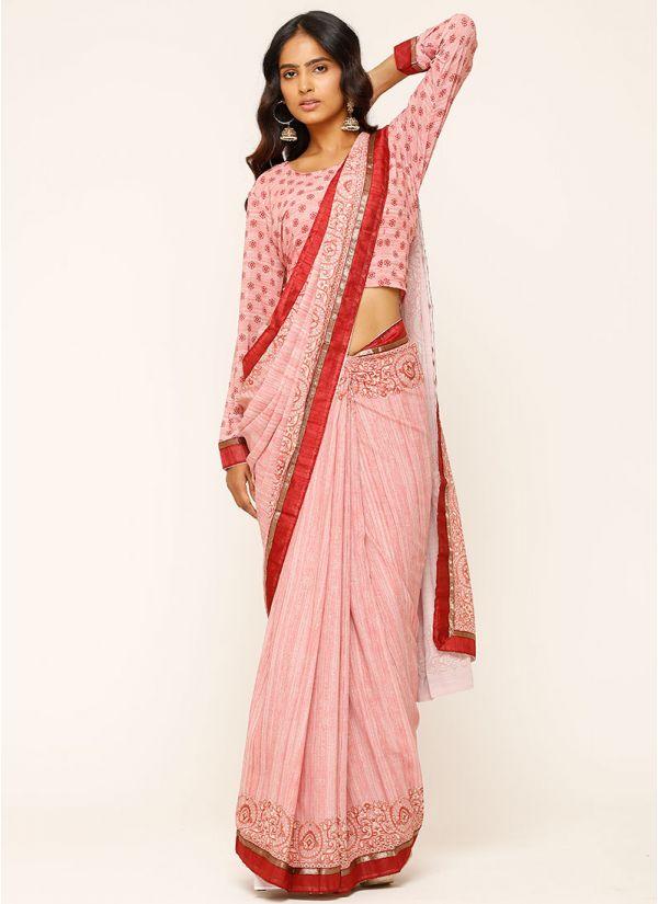 Pink Floral Print georgette Saree