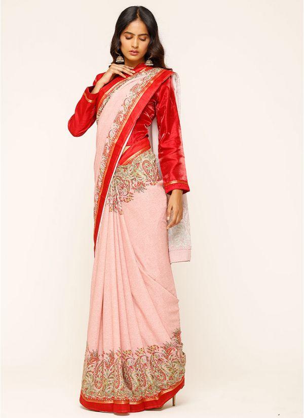 Pink Paisley Print Saree