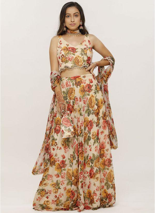 Ivory Chiffon Lehenga Set With Peach Floral Print