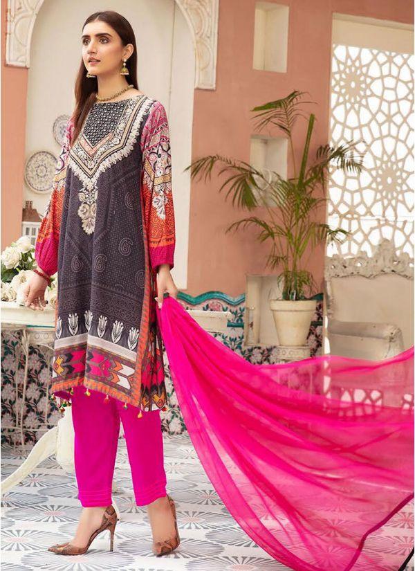 Black Printed & Mirror Pakistani Suit