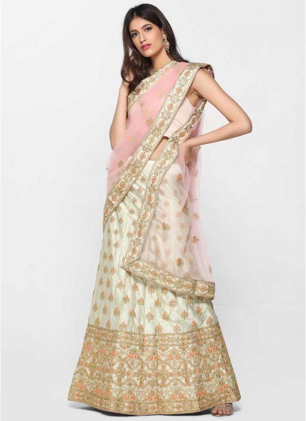 Mint Zari Skirt Set