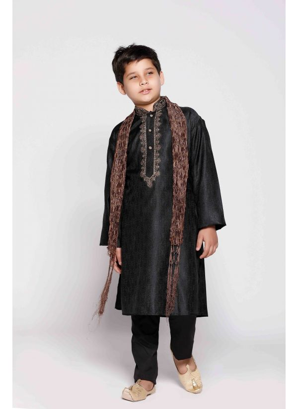 Black Hand Embroidered Kurta Pyjama Set