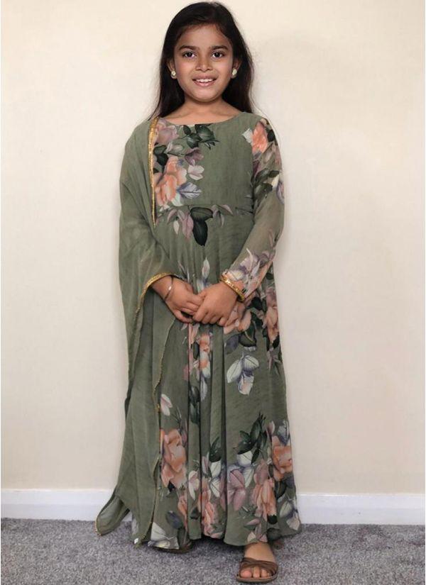 Kids Green Floral Printed Flow Dress