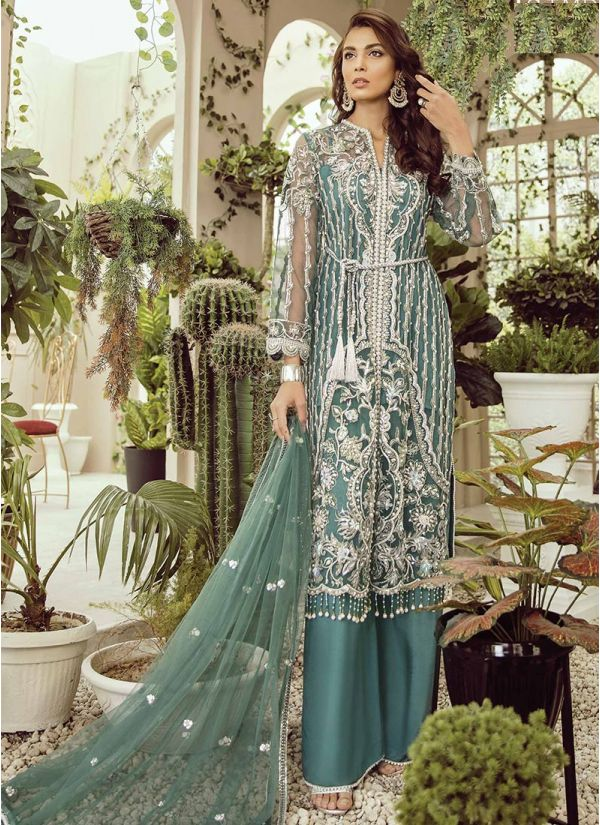 Teal Blue Embroidered Suit