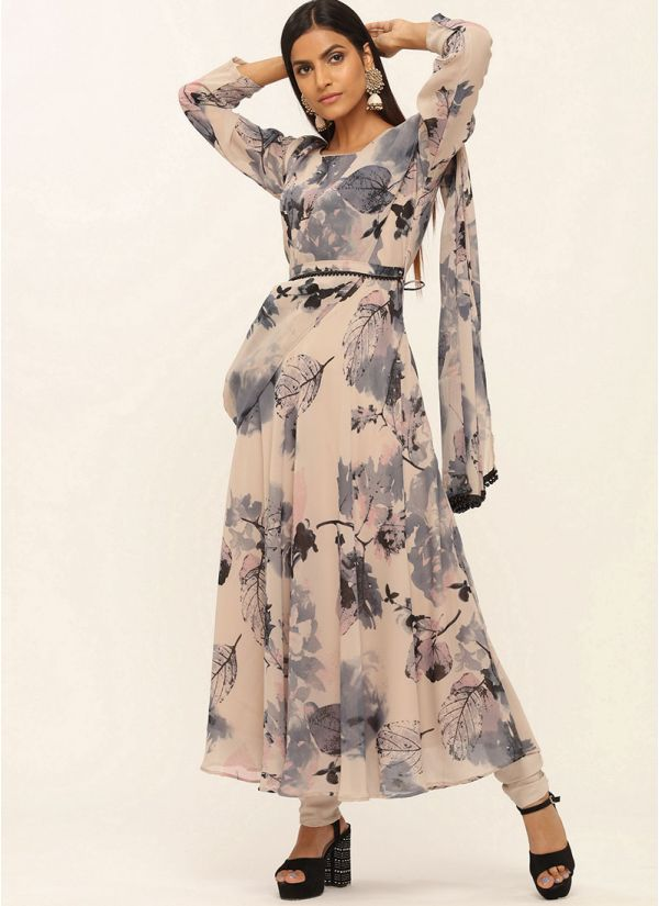 Floral Print Flow Dress With Attached Dupatta