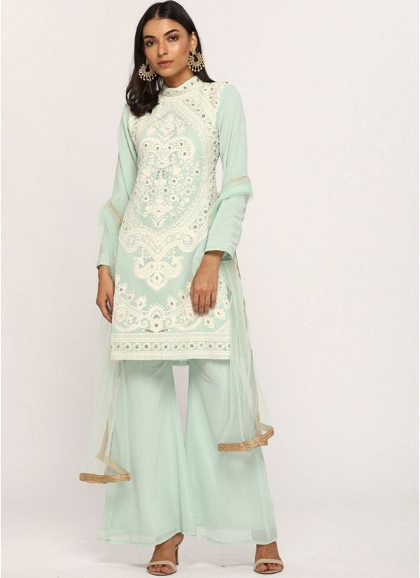 Mint Green Embroidered Suit Set