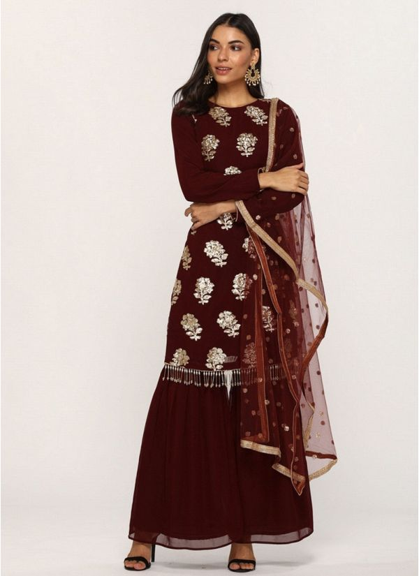 Maroon Sequin Embroidered Gharara Suit