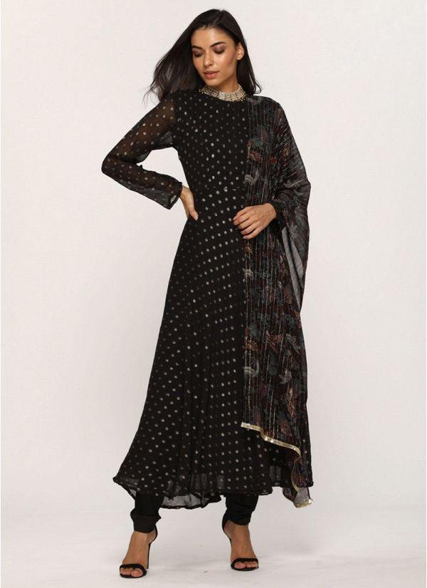 Black Lurex Georgette Flow Dress