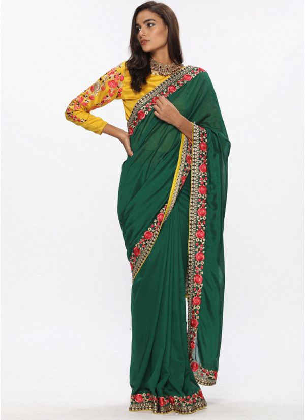 Green Contrast Embroidered Saree