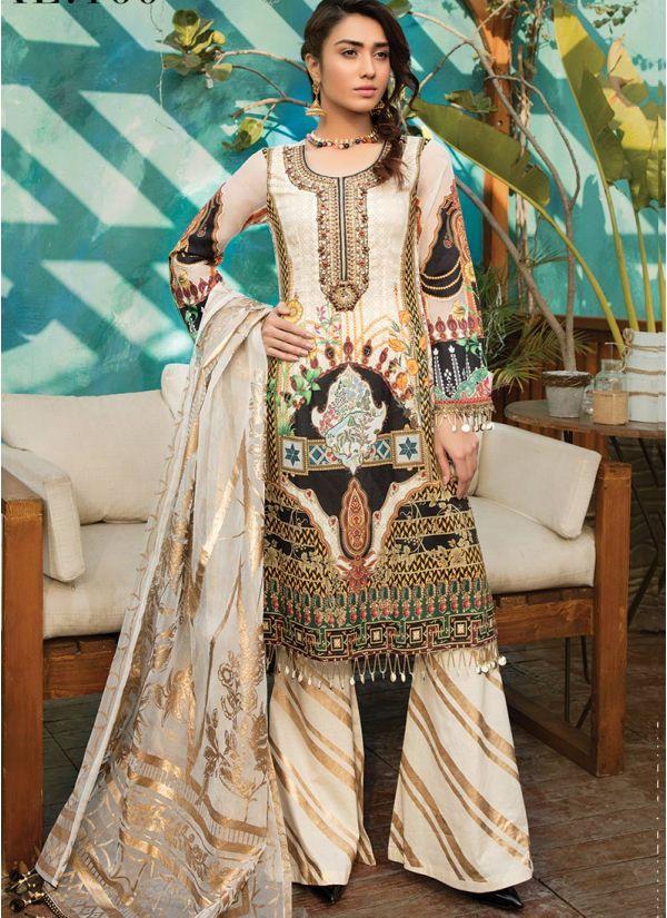Ivory Printed Lawn Jacquard Dupatta Suit Set