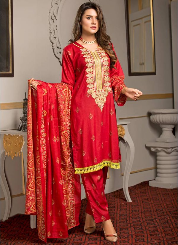 Red Printed & Embroidered Lawn Suit