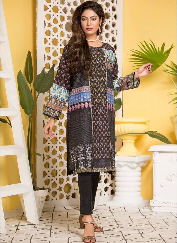 Black Printed & Embroidered Lawn Kurta