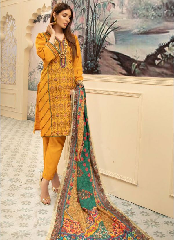 Deep Yellow Embroidered Khaddar Suit