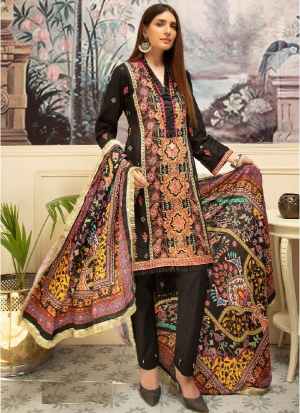 Black Embroidered Khaddar Suit