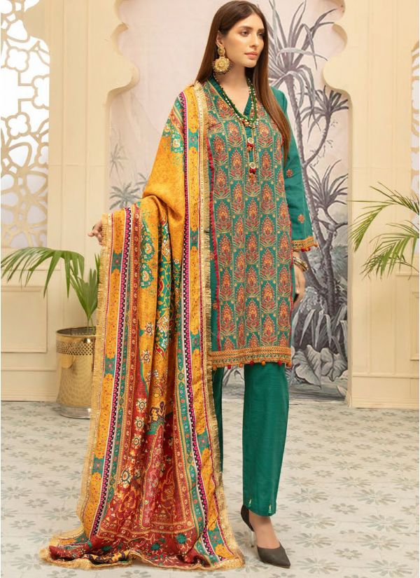 Teal Embroidered Khaddar Suit