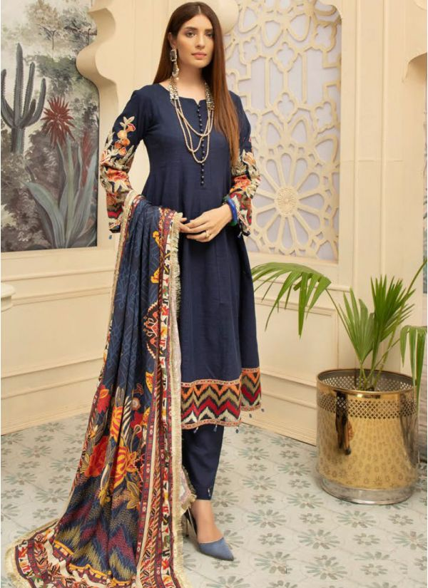 Dark Blue Embroidered Khaddar Suit