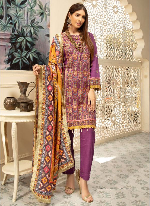 Purple Embroidered Khaddar Suit