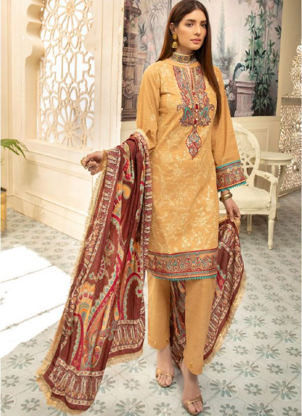 Mustard Embroidered Khaddar Suit