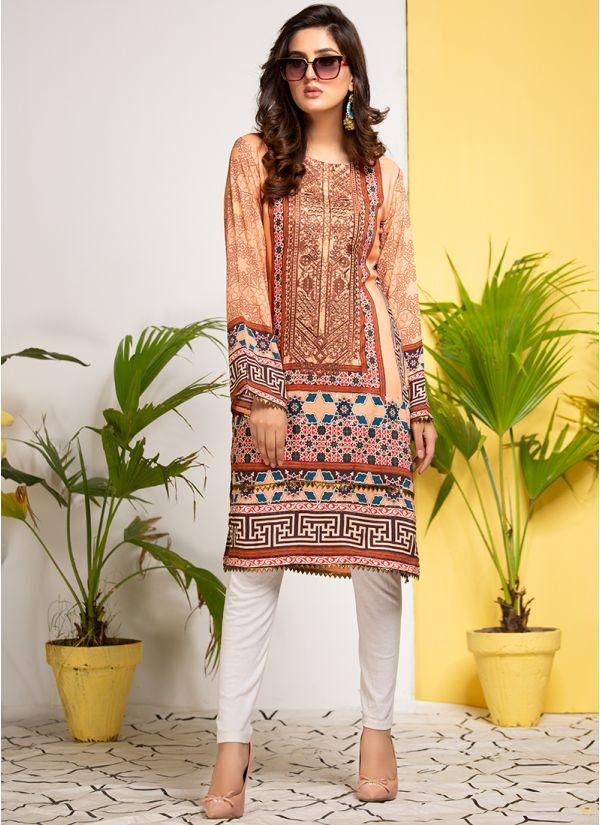 Peach Printed & Embroidered Pakistani Kurta