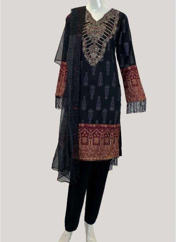 Black Printed & Embroidered Pakistani Suit