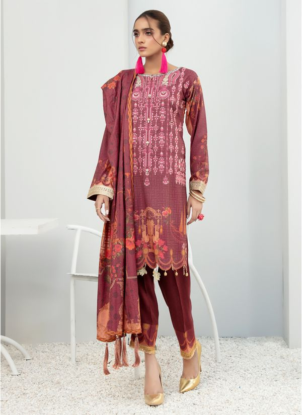 Plum Dhanak Embroidered Suit With Print Dupatta