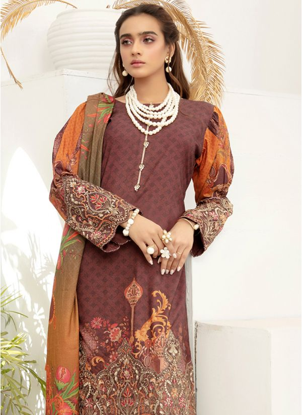 Brown Embroidered Dhanak Suit