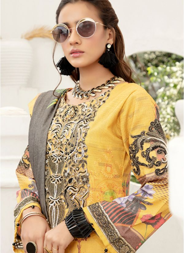 Yellow Embroidered Dhanak Suit