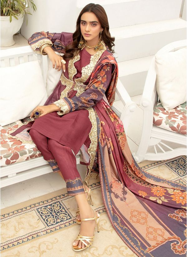 Wine Embroidered Dhanak Jacket Suit