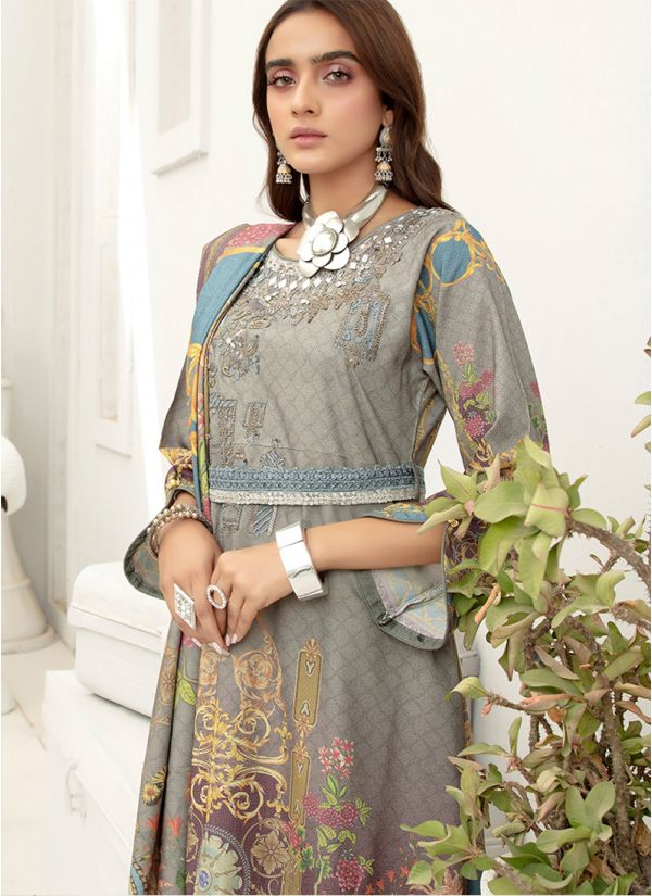 Grey Embroidered Dhanak Suit