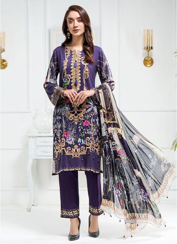 Purple Linen suit with print scarf