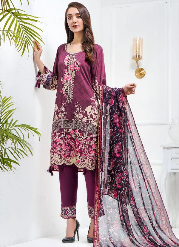 Plum Embroidered Pakistani Suit