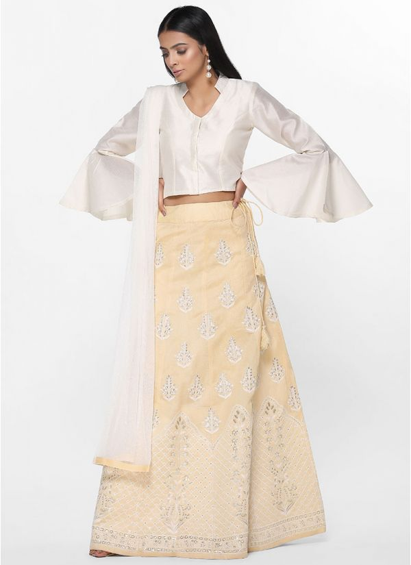 Tonal Chikankari Skirt Set