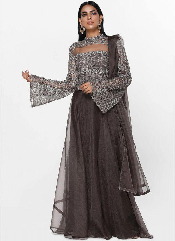 Charcoal Sheer Flow Skirt Set