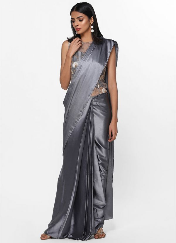 Stitched Grey Saree Gown