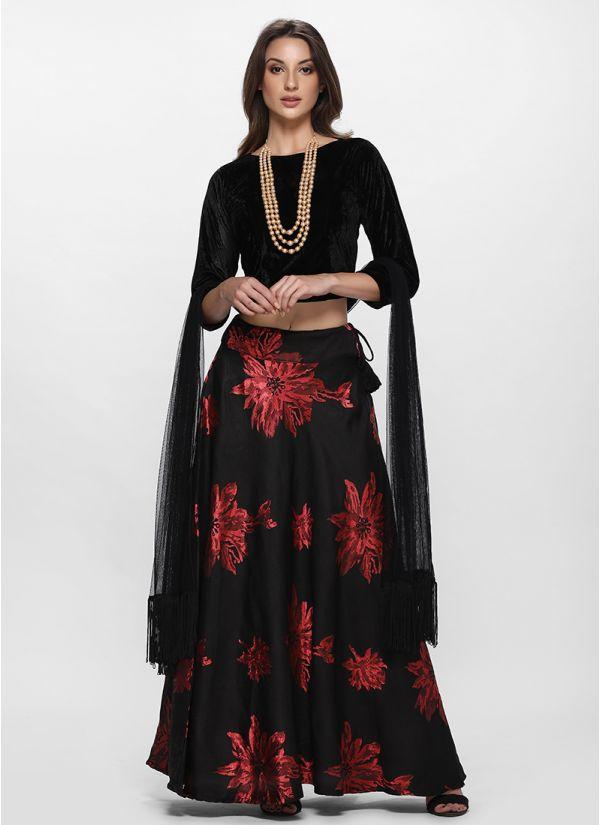 Classic Black Floral Jacquard Lehenga Set
