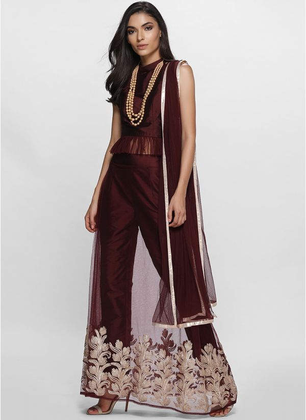Unique Wine Pant Lehenga Set