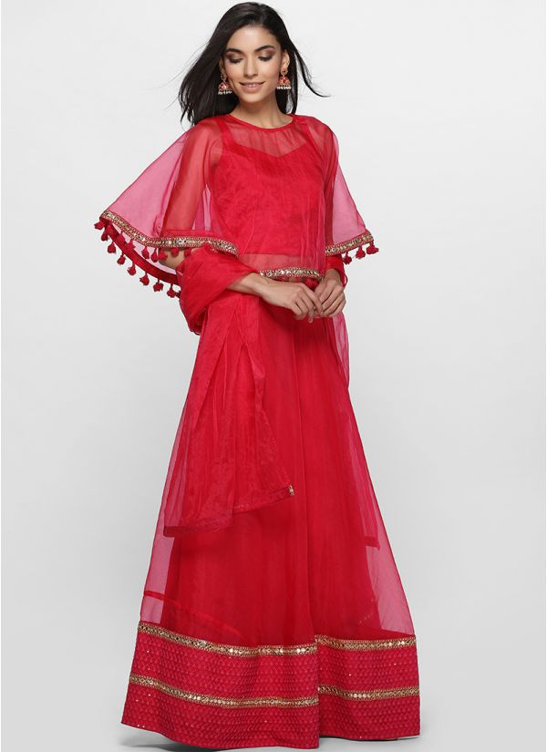 Bright Pink Cape Lehenga Set