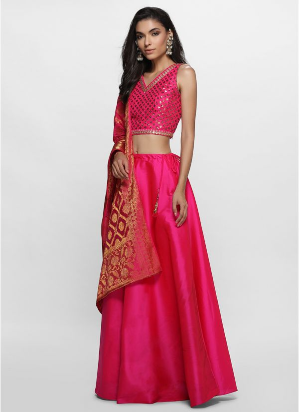 Dazzling Pink Embroidered Lehenga Set