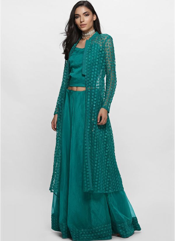 Teal Green Schiffley Jacket Lehenga Set