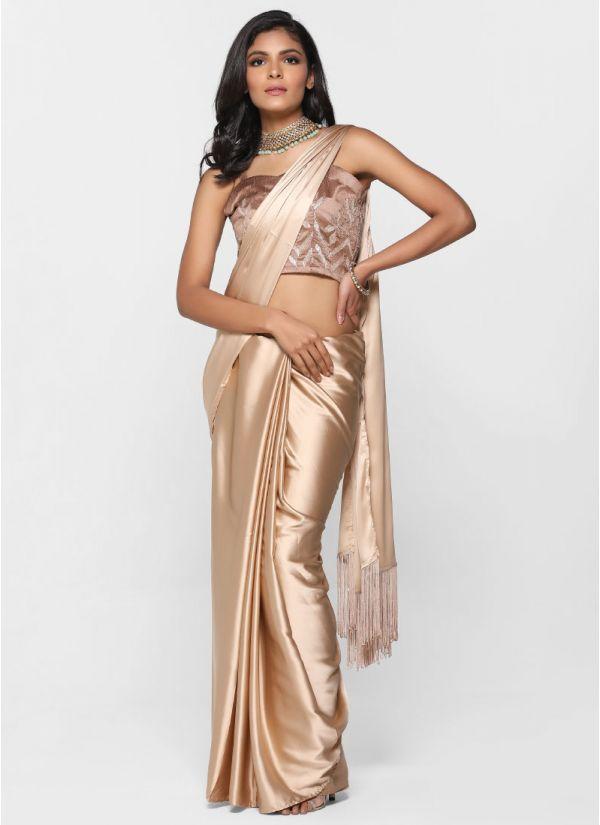 Rose Gold Gota Saree
