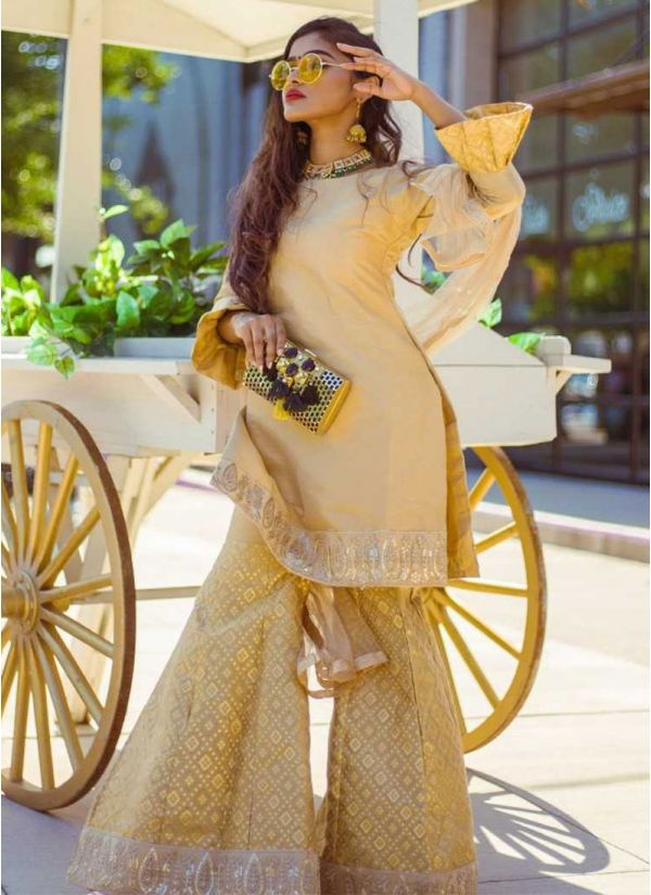 Metallic Jacquard Embroidered Gharara Suit