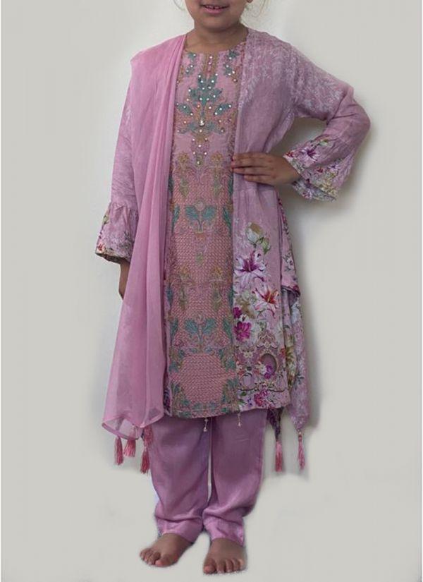 Kids Pink Printed Suit