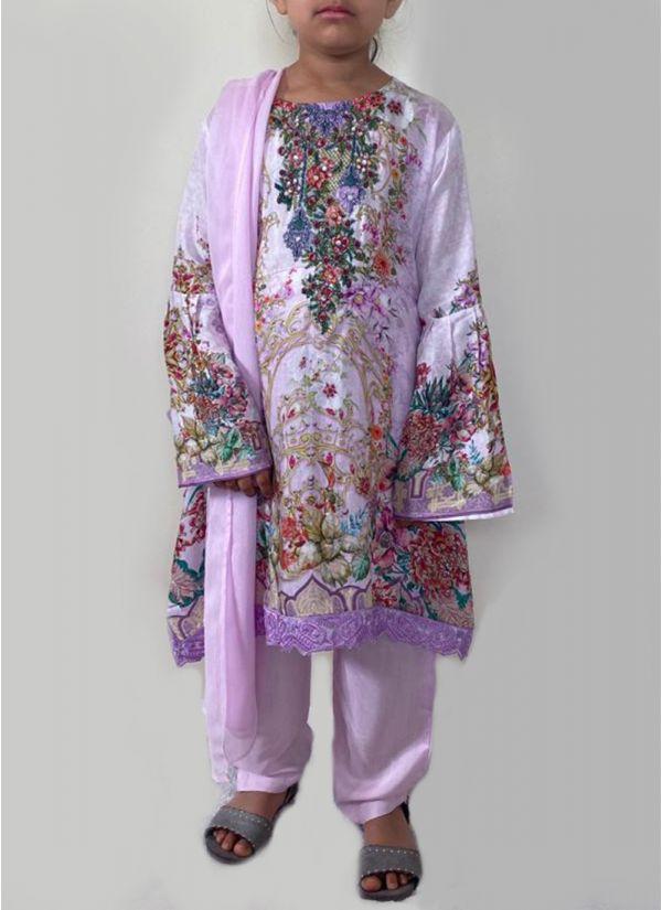 Kids Lavender Printed Suit