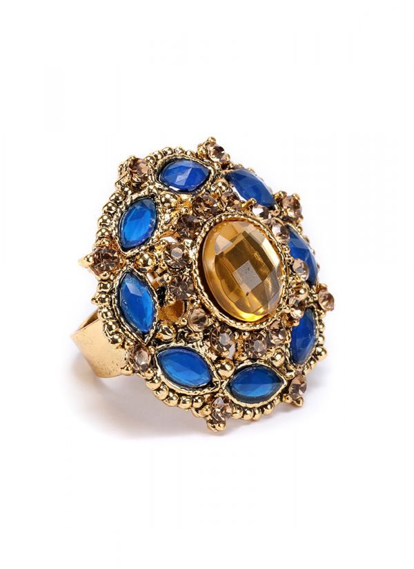 Gold And Blue Finger Ring