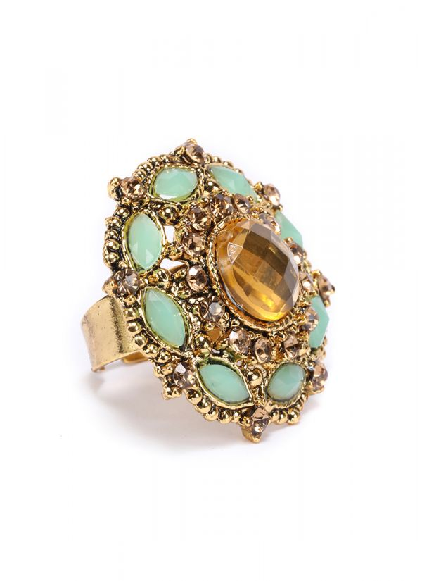 Gold And Mint Finger Ring
